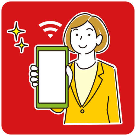 Woman in suit showing smartphone screen Smiling moderately simple illustration vector A woman in a suit showing the screen of her smartphone.