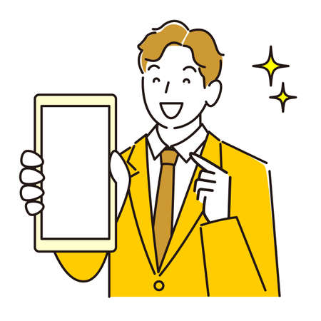 A man in a suit showing the screen of a smartphone smiling moderately simple illustration vector A man in a suit showing the screen of her smartphone.