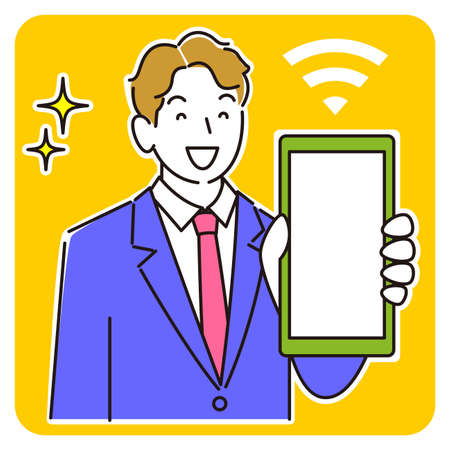 A man in a suit showing the screen of a smartphone smiling moderately simple illustration vector A man in a suit showing the screen of her smartphone. Smile. A simple illustration. vector.