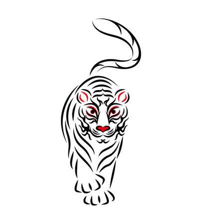 White Tiger White Tiger Illustration Japanese Traditional Performing Arts Kabuki Stage Makeup Kumadashi Design Vector by White tiger Illustration. Japanese Traditional Performing Arts. Kabuki Stage Makeup. Kumadori Design. Vector.