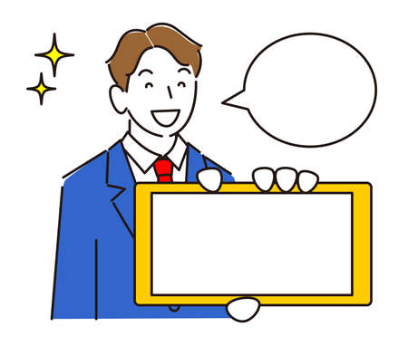 A boy in a suit showing the screen of a sideways smartphone Smiling Moderately simple male illustration Vector showing the screen of the smartphone. Men in suits. Smile boy. Simple illustration. Vector. Vector Illustratie