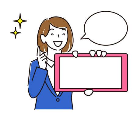 A girl in a suit showing a horizontal smartphone screen A moderately simple female illustration vector showing the screen of the smartphone. Women in suits. Smile girl. Simple illustration. Vector. Vektoros illusztráció