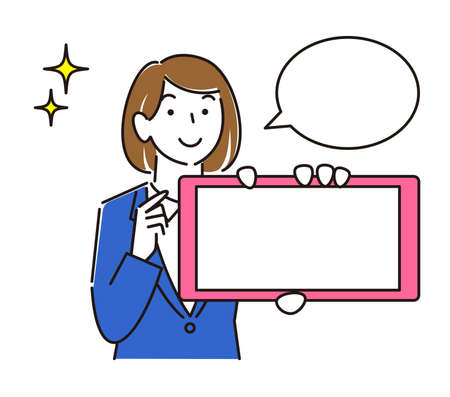 A girl in a suit showing a horizontal smartphone screen A moderately simple female illustration vector showing the screen of the smartphone. Women in suits. Smile girl. Simple illustration. Vector.
