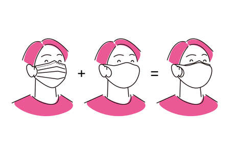 Man wearing double mask Simple illustration vector Male wearing a double mask Simple illustration vector