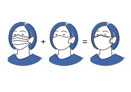 Woman wearing double mask Simple illustration Vector by Woman wearing a double mask Simple illustration vector