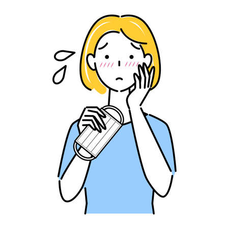 Mask wearing caused rough skin illustration simple vector A woman who has become a roughness rough to wearing a mask. Simple illustration. vector.