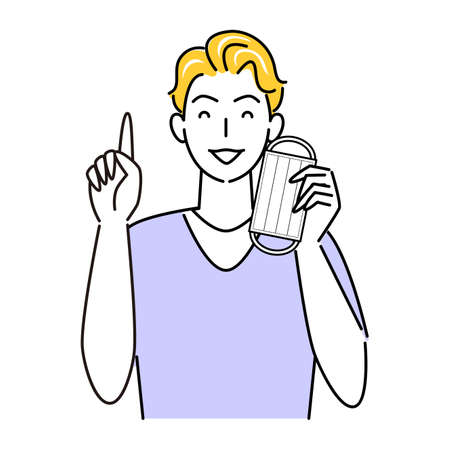 Let's remove the mask when you can remove it for heat heat and rough skin measures Illustration simple vector of a man who is proposing with a smile on the pointing pose For heat stroke and rough skin prevention measures. Let's remove the mask when it can be removed. A man proposing a pointing pose with a Vector Illustratie