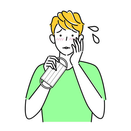 Man who became rough skin due to wearing mask Illustration simple vector A man who has become rough due to wearing a mask. Simple illustration. vector.
