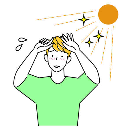 Man tanned and tingly skin in summer sun Hot and sweaty Illustration Simple Vector A man whose skin is tingling due to sunburn in the summer sun. It's hot and sweaty. Simple illustration. vector.