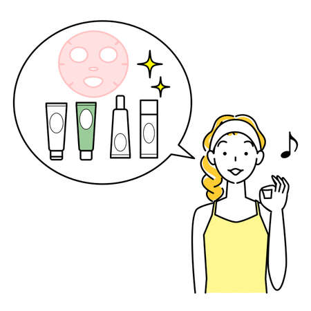 Skin care recommended set of favorite cosmetics women illustration simple vector Skin Care. A woman recommending a set of her favorite cosmetics. Simple illustration. vector.
