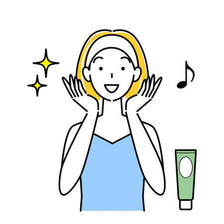 Skin care mineral rich mud pack and woman who is happy to become beautiful skin Illustration Simple Vector Skin Care. A woman who is happy with her beautiful skin after using mineral-rich mud packs. Simple illustration. vector.