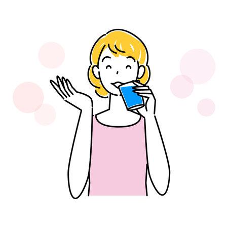 Heat Heat Heat Measures Cute Woman Hydrating Illustration Simple Vector Heat stroke prevention. A pretty woman rehydrating. Simple illustration. vector.