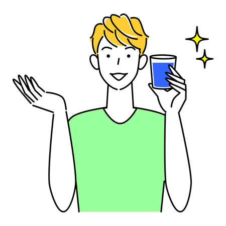 Heat Heat Disease Measures Cute man drinking water with glass cup for hydration Illustration Simple Vector Heat stroke prevention. Cute guy drinking water from a glass cup to stay hydrated. Simple illustration. vector.
