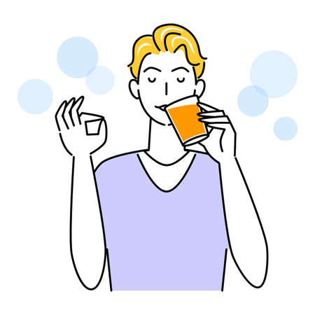 Heat Heat Disease Measures Cute Man Drinking Orange Juice With Glass Cup For Hydration Illustration Simple Vector Heat stroke prevention. A cute guy drinking orange juice from a glass cup to stay hydrated. Simple illustration. vector.