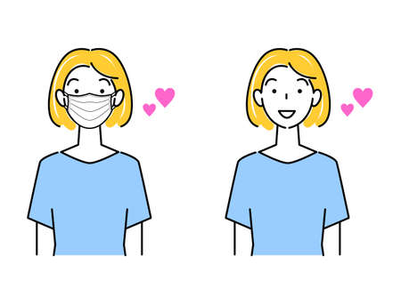 Cute illustration set of woman wearing mask and woman not masking Simple vector  Cute illustration set of a woman wearing a mask and a woman without a mask. simple. vector.
