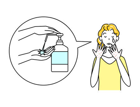 Skin care Cute woman sad with hands rough skin with alcohol disinfection Simple vector Skin Care. A pretty woman grieving over skin irritation caused by alcohol disinfection on her hands. Simple illustration. vector.  イラスト・ベクター素材