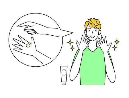 Skin care Cute man illustration simple vector with hand roughness healed by alcohol disinfection Skin Care. A lovely man who is happy to be cured of skin irritation on his hands caused by alcohol disinfection. Simple illustration. vector.