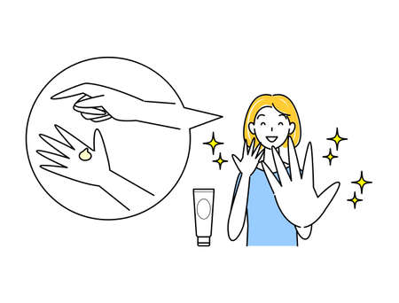 Skin care Cute woman illustration simple vector with skin roughness of hands healed by alcohol disinfection Skin Care. A pretty woman happy to be cured of skin irritation on her hands caused by alcohol disinfection. Simple illustration. vector.