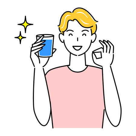 Heat Heat Disease Measures Cute Man Drinking Water For Hydration From Ok Pose Simple Vector Heat stroke prevention. Cute guy drinking water to stay hydrated while doing an OK pose. Simple illustration. vector.