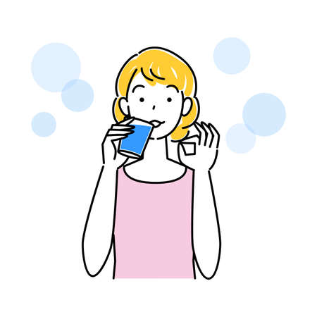 Heat Heat Disease Measures Cute Woman Drinking Water For Hydration From Doing OK Pose Simple Vector Heat stroke prevention. Cute lady drinking water to stay hydrated while doing OK pose. Simple illustration. vector.