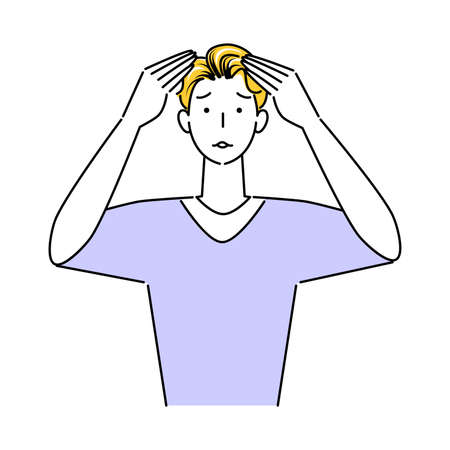 Hair Care A few days after hair dyeing, the black hair at the base of the hair becomes noticeable and the troubled face man illustration simple vector Hair Care. A few days after hair dyeing, a man with a troubled look on his face as the black hair at the hairline became more prominent. Simple