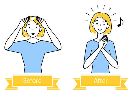 Hair Care Thinning Hair Gray Hair Hair Trouble Before After Cute Woman Illustration Simple Vector Hair Care. Thinning hair, gray hair, before and after head hair problems. Pretty lady. Simple illustration. vector.