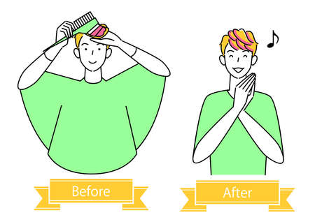 Hair care Hair color dye hair tip pink Before after cute man illustration simple vector Hair Care. Before and after hair color to dye the ends of the hair pink. Cute guy. Simple illustration. vector.