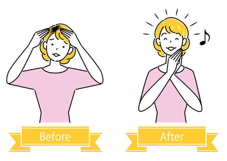 Hair Care Before And After Coloring Hairy Black Hair Cute Woman Illustration Simple Vector Hair Care. Before and after coloring the black hair at the hairline. Pretty lady. Simple illustration. vector. Stock Illustratie