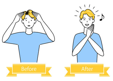 Hair Care Before And After Coloring Hair Cute Men Illustration Simple Vector Hair Care. Before and after coloring the black hair at the hairline. Cute guy. Simple illustration. vector.