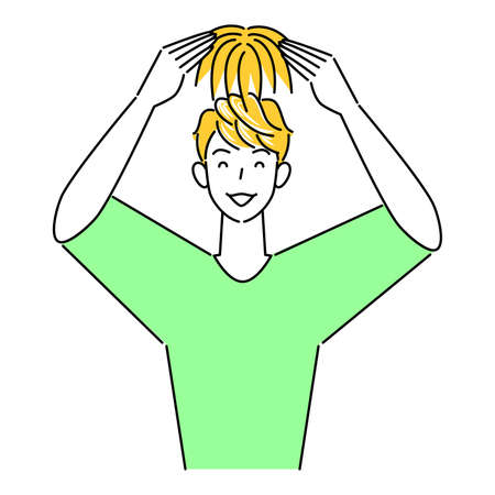 Cute man wearing hair care part wig (wig) on the top of the head Illustration Simple Vector Hair Care. Thinning hair and gray hair prevention Cute man trying to wear a partial wig (wig) on the top of his head. Simple illustration. vector.