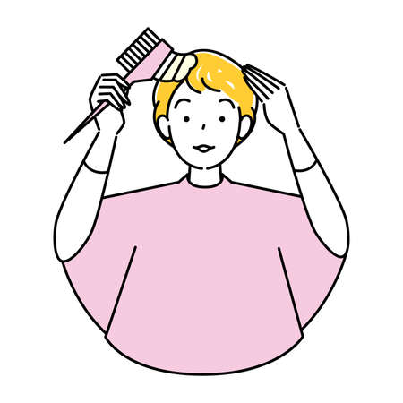 Hair Care Self Color Gray Hair Dyeing Cute Woman With Comb Part Dyed Illustration Simple Vector Hair Care. Self Color Gray Hair Dye A pretty woman using a comb-applied hair color for partial dyeing. Simple illustration. vector. Stock Illustratie