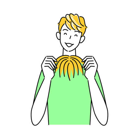 Cute man holding hair care part wig (wig) with both hands Illustration Simple Vector Hair Care. Measures against thinning and graying hair Cute man holding a partial wig (wig) in both hands. Simple illustration. vector.