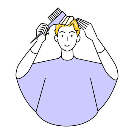 Hair Care Self Color Gray Hair Dyeing Cute Man Partially Dyed With Comb Illustration Simple Vector Hair Care. Self Color Gray Hair Dye Cute man using comb-applied hair color for partial dyeing. Simple illustration. vector.