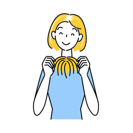 Cute woman holding hair care part wig (wig) with both hands Simple vector  Hair Care. Measures against thinning and graying hair Cute woman holding a partial wig (wig) in both hands. Simple illustration. vector. Stock Illustratie