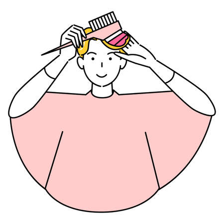 Cute man dyed hair tip pink with hair care self-color comb Illustration simple vector Hair Care. Self-Coloring Pretty man dying the ends of his hair pink with a comb-over hair color. Simple illustration. vector.