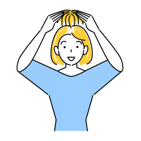 Cute woman wearing hair care part wig (wig) on the top of her head Illustration Simple Vector Hair Care. Thinning and graying hair A pretty woman trying to wear a partial wig (wig) on the top of her head. Simple illustration. vector.