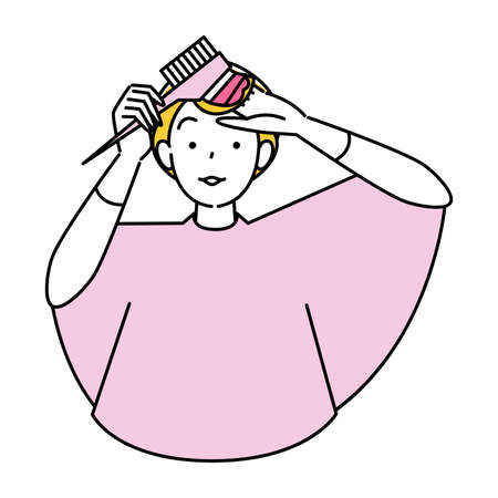 Hair care self-colored comb with pink hair tip cute woman illustration simple vector Hair Care. Self Color A pretty woman dyes the ends of her hair pink using a comb-applied hair color. Simple illustration. vector.