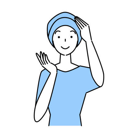 Hair care cute woman with a stylish care hat for medical use with thinning hair measures Illustration Simple Vector Hair Care.  A woman with a pretty smile wearing a stylish medical care hat to hide his thinning hair. Simple illustration. vector. Stock Illustratie