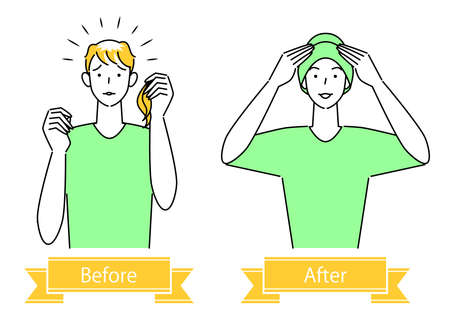 Hair Care Pretty After Illustration Simple Vector Of Cute Man Wearing A Stylish Care Hat For Medical Use With Thinning Hair Measures Hair Care. Before and after of a cute man wearing a stylish medical care hat to hide his thinning hair. Simple illustration. vector.