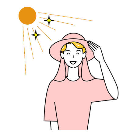 Hat against heat- smiling cute man wearing a UV-cut hat with backshades in the sun Illustration Simple Vector Heat stroke prevention. A cute smiling man wearing a UV-protective hat with a back shade in the sun. Simple illustration. vector. Stock Illustratie