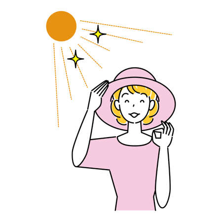 Heat Heat Measures Smiling Pretty Woman Wearing UV Cut Hat In The Sun Illustration Simple Vector Heat stroke prevention. A pretty smiling woman wearing a UV-protective hat in the sun. Simple illustration. vector.