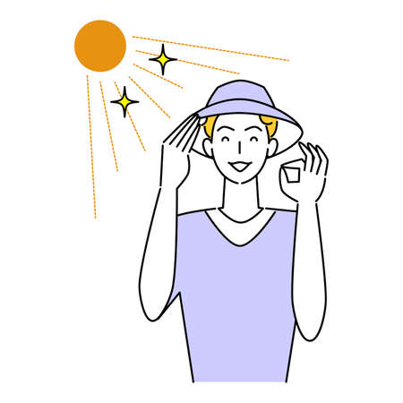 Hat Heat Heat Measures Smiling Cute Man Wearing UV Cut Hat In The Sun Illustration Simple Vector Heat stroke prevention. A man with a pretty smile wearing a UV-protective hat in the sun. Simple illustration. vector.