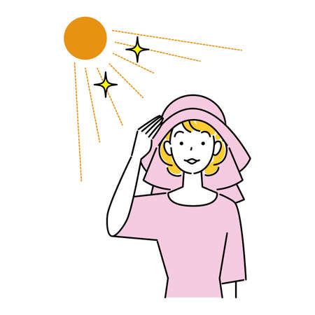 Heat against heat d'e, smiling pretty woman wearing a UV cut hat with backshades in the sun Simple Vector Heat stroke prevention. A pretty smiling woman wearing a UV-protective hat with a back shade. Simple illustration. vector.