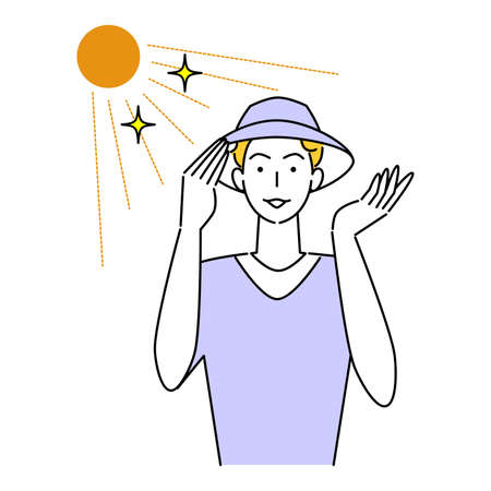 Hat  Heat Measures Smiling Cute Man Wearing UV Cut Hat In The Sun Illustration Simple Vector Heat stroke prevention. A man with a pretty smile wearing a UV-protective hat in the sun. Simple illustration. vector.