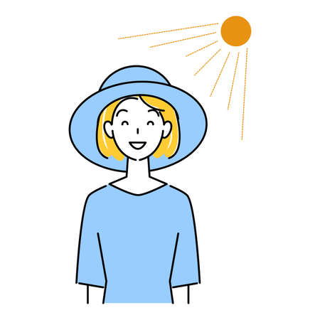 Heat Stroke Measures Smiling pretty woman wearing UV cut hat in the sun Illustration simple vector Heat stroke prevention. A pretty smiling woman wearing a UV-protective hat in the sun. Simple illustration. vector.  イラスト・ベクター素材