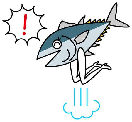 Fish character (tuna, first, hamachi, bonito) illustration vector Character of the fish(Pacific bluefin tuna, yellowtail, yellowtail, bonito) illustration vector  イラスト・ベクター素材