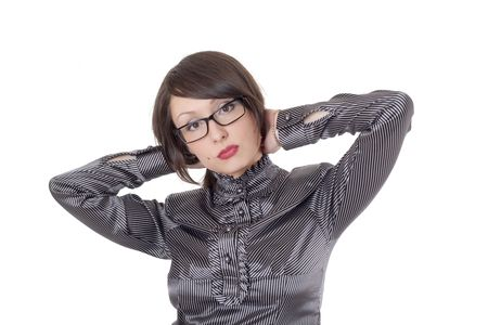 wearing spectacles: The beautiful business girl wearing spectacles