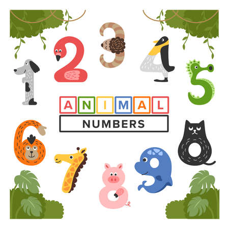 We created a cute animal illustration with a number motif. Perfect for children's content.