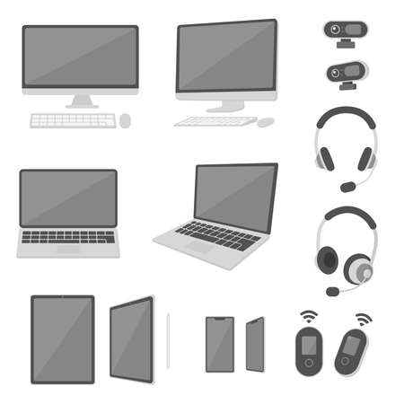 This is a set of illustrations showing laptop computers, smartphones, tablets, webcams, headsets, etc., from frontal and oblique angles, which are necessary for teleworking.