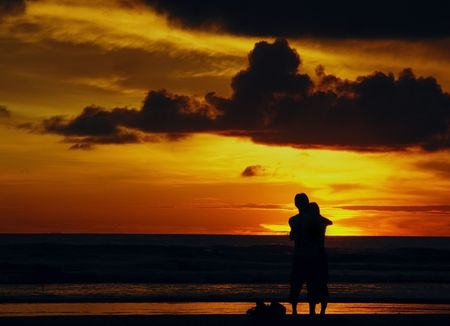 romatic: Romantic Sunset on Kuta   Stock Photo